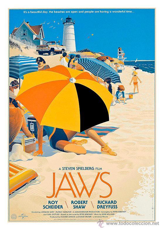TIBURÓN. JAWS. LÁMINA CARTEL 45 X 32 CMS (Cine - Posters y Carteles - Suspense)