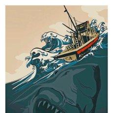 Cine: JAWS. TIBURÓN. LÁMINA CARTEL 45 X 32. Lote 218159337