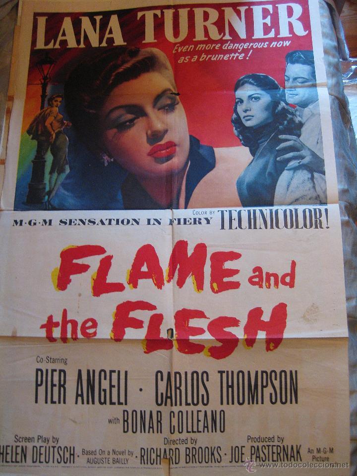 FLAME AND THE FLESH CARTEL ORIGINAL ESTADOS UNIDOS 1954 LANA TURNER PIER ANGELI (Cine- Posters y Carteles - Drama)