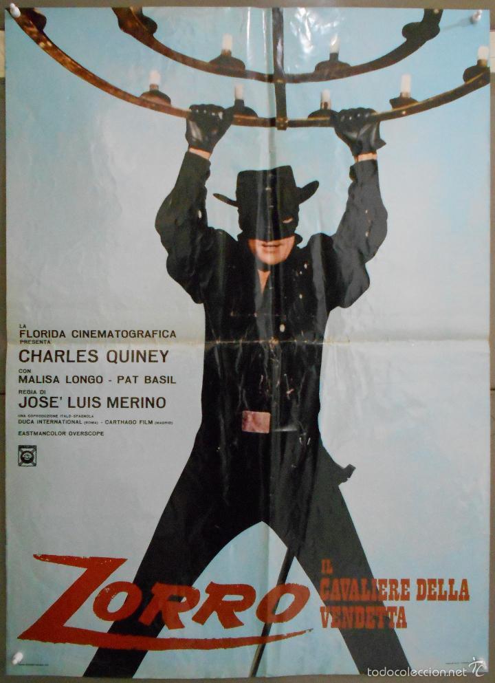 WS33 EL ZORRO CABALLERO DE LA JUSTICIA CHARLES QUINEY SPAGHETTI POSTER ORIGINAL ITALIANO 68X94 (Cine - Posters y Carteles - Westerns)
