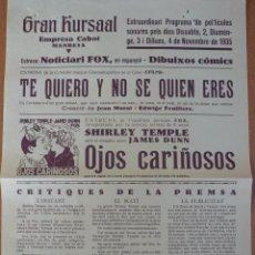Cine: PROGRAMA CINE GRAN KURSAAL MANRESA 1935 - SHIRLEY TEMPLE. Lote 55571660