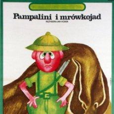 Cinema: CARTEL POLACO CINE ANIMACIÓN. PAMPALINI I MROWKOJAD (1978), DE JAN HODER. ILLUSTR. HANNA BODNAR. Lote 56178612