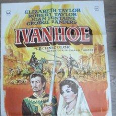 Cine: CARTEL IVANHOE ELIZABETH TAYLOR, ROBERT TAYLOR, JOAN FONTAINE. Lote 56278333