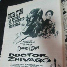 Cine: PUBLICIDAD CARTEL A TODA PAGINA EN REVISTA HOLA 1961 DOCTOR ZHIVAGO. Lote 56397846