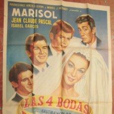 Cine: MARISOL CARTEL MEXICANO DEL FILM LAS CUATRO BODAS DE MARISOL 70 X 95 CTMS.. Lote 56965535