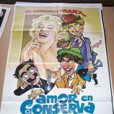 Cine: HERMANOS MARX Y MARILYN MONROE EN AMOR EN CONSERVA. POSTER ORIGINAL DE 70X100CM. Lote 186124437