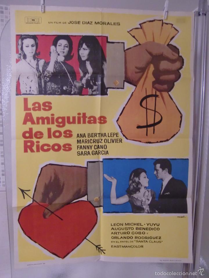 CARTEL CINE ORIG LAS AMIGUITAS DE LOS RICOS (1967) 70X100 / JOSE DÍAZ MORALES / PEDRO DE AGUILLÓN (Cine - Posters y Carteles - Comedia)