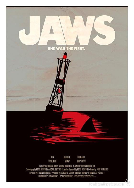 TIBURÓN. JAWS. LÁMINA CARTEL. SPIELBERG. 45 X 32 CMS (Cine - Posters y Carteles - Suspense)