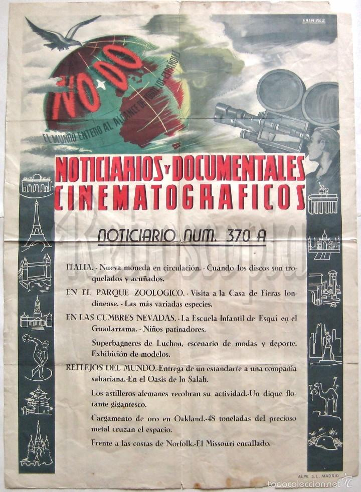 Cine: CARTEL DEL NOTICIARIO DOCUMENTAL NODO Nº 370 A (VER LOS ACONTECIMIENTOS) ORIGINAL - Foto 1 - 57619013