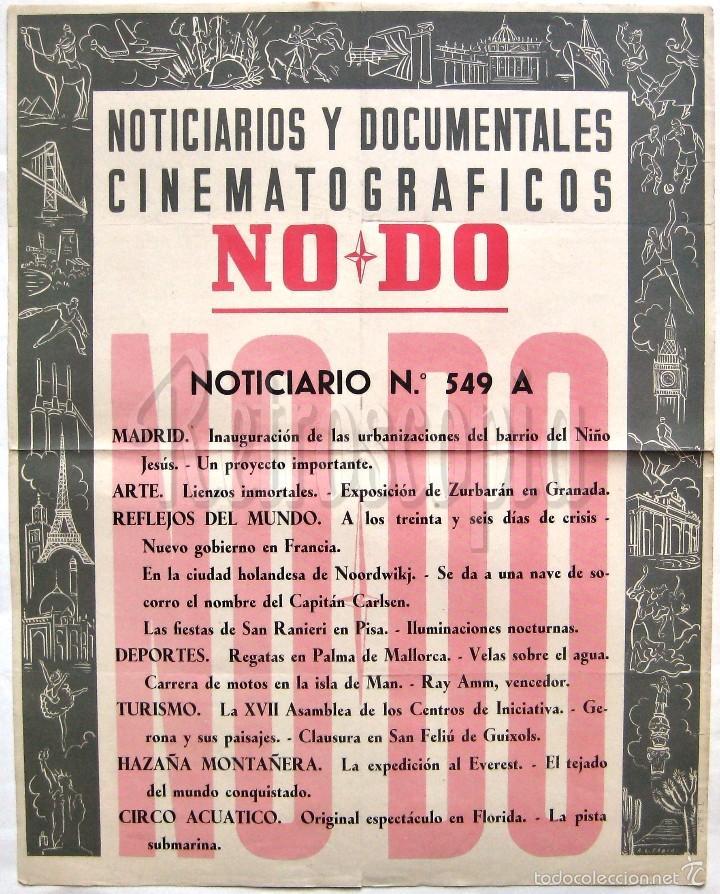 CARTEL DEL NOTICIARIO DOCUMENTAL NODO Nº 549 A (VER LOS ACONTECIMIENTOS) ORIGINAL (Cine - Posters y Carteles - Documentales)