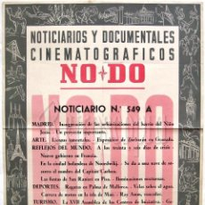 Cine: CARTEL DEL NOTICIARIO DOCUMENTAL NODO Nº 549 A (VER LOS ACONTECIMIENTOS) ORIGINAL. Lote 57619245