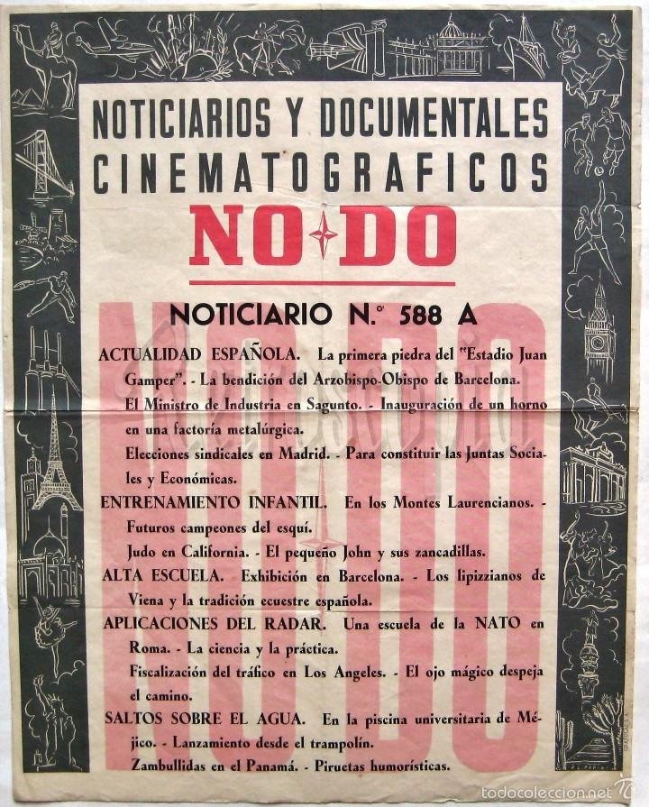 CARTEL DEL NOTICIARIO DOCUMENTAL NODO Nº 588 A (VER LOS ACONTECIMIENTOS) ORIGINAL (Cine - Posters y Carteles - Documentales)