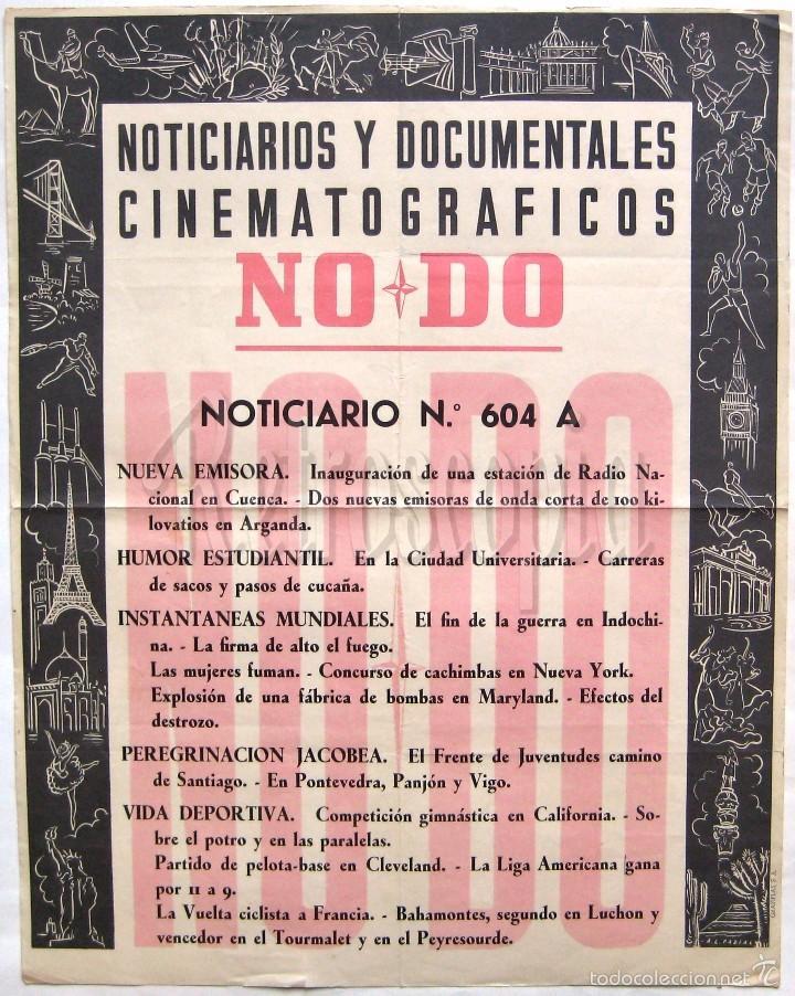 CARTEL DEL NOTICIARIO DOCUMENTAL NODO Nº 604 A (VER LOS ACONTECIMIENTOS) ORIGINAL (Cine - Posters y Carteles - Documentales)