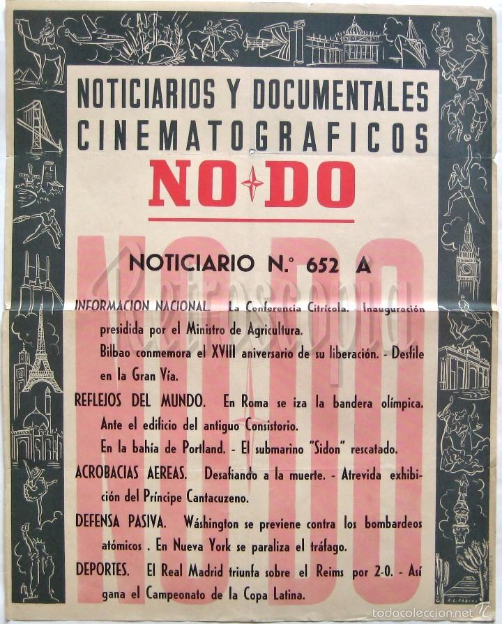 CARTEL DEL NOTICIARIO DOCUMENTAL NODO Nº 652 A (VER LOS ACONTECIMIENTOS) ORIGINAL (Cine - Posters y Carteles - Documentales)