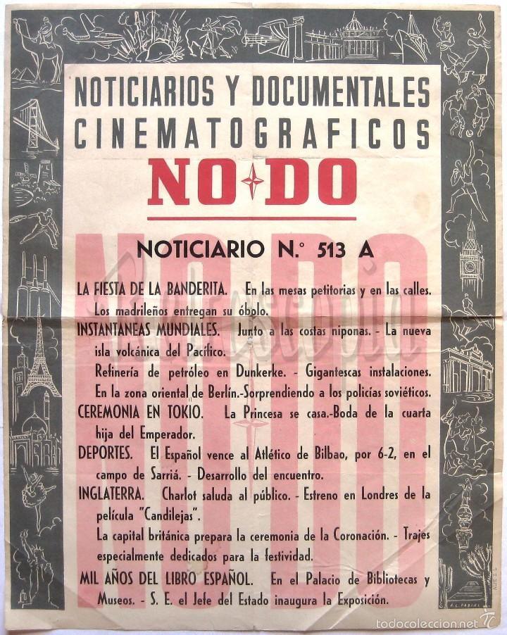 CARTEL DEL NOTICIARIO DOCUMENTAL NODO Nº 513 A (VER LOS ACONTECIMIENTOS) ORIGINAL (Cine - Posters y Carteles - Documentales)