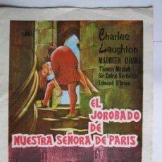 Cine: CARTEL ''EL JOROBADO DE N. SEÑORA DE PARÍS' 1939 (USA) DE W. DIETERLE CON MAUREEN O'HARA 20X30CM. Lote 57657112