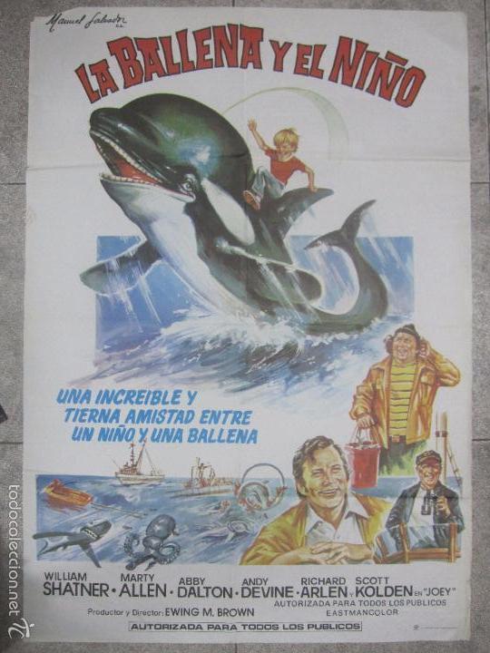 CARTEL DE CINE. LA BALLENA Y EL NIÑO. 98 X 68 CM (Cine - Posters y Carteles - Infantil)