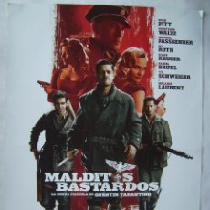 Cinema: MALDITOS BASTARDOS, CON BRAD PITT. POSTER.. Lote 154284604