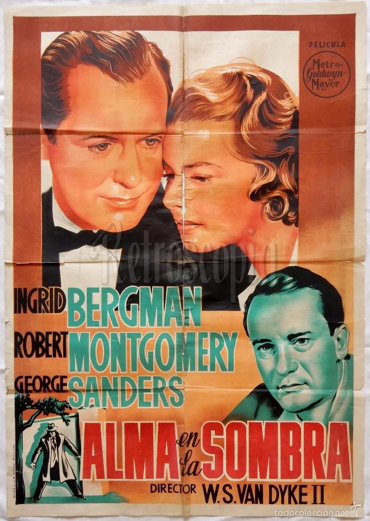 CARTEL POSTER ORIGINAL *ALMA EN LA SOMBRA* INGRID BERGMAN ROBERT MONTGOMERY (Cine- Posters y Carteles - Drama)