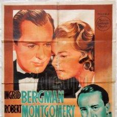 Cine: CARTEL POSTER ORIGINAL *ALMA EN LA SOMBRA* INGRID BERGMAN ROBERT MONTGOMERY. Lote 57732822