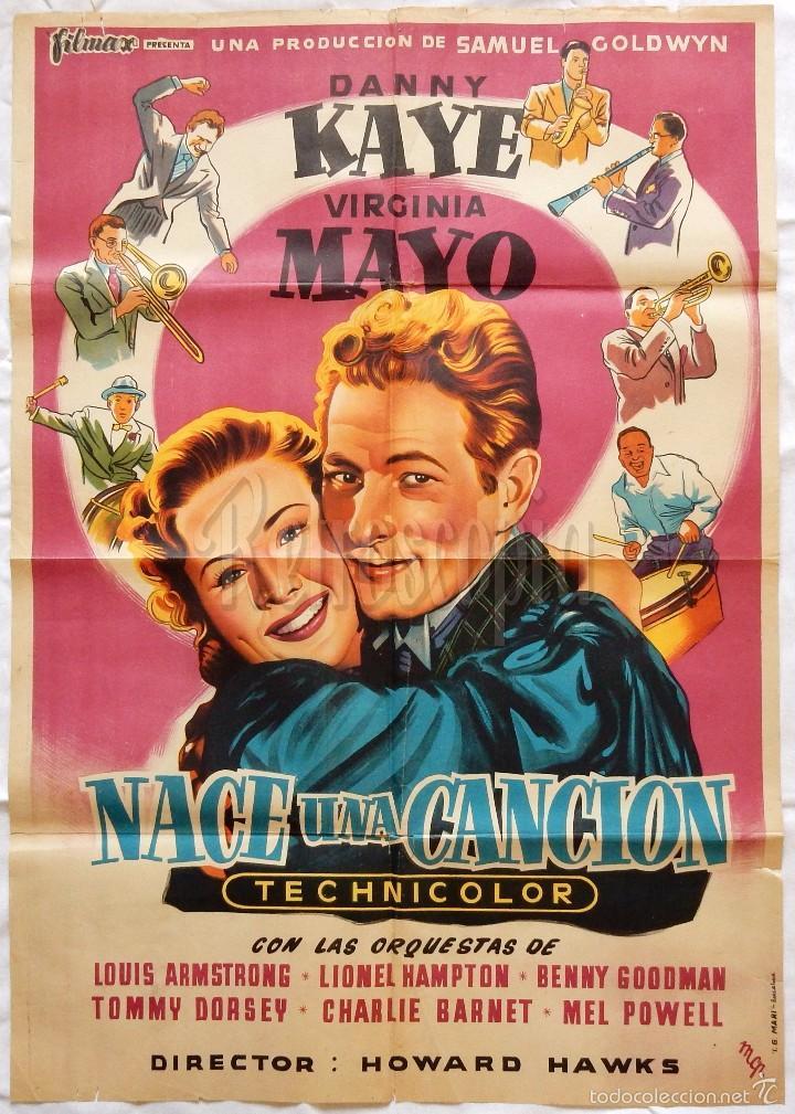CARTEL POSTER ORIGINAL *NACE UNA CANCIÓN* DANNY KAYE VIRGINIA MAYO. HOWARD HAWKS (MCP) (Cine - Posters y Carteles - Musicales)