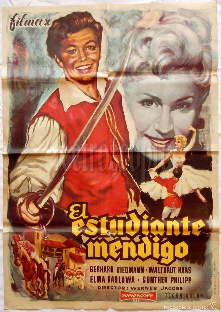 CARTEL POSTER ORIGINAL *EL ESTUDIANTE MENDIGO* GERHARD RIEDMANN WATRAUT HAAS. WERNER JACOBS 1959 (Cine - Posters y Carteles - Aventura)
