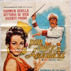 Cine: CARTEL POSTER ORIGINAL *PAN, AMOR Y ANDALUCÍA* CARMEN SEVILLA VITTORIO DE SICA VICENTE PARRA . Lote 57735597