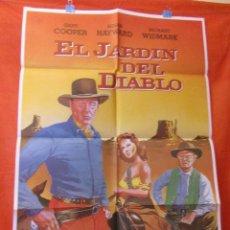 Cine: CINE EL JARDIN DEL DIABLO GARY COOPER SUSAN HAYWARD RICHARD WIDMARK CARTEL AFICHE ORIGINAL100 X 70. Lote 58269125
