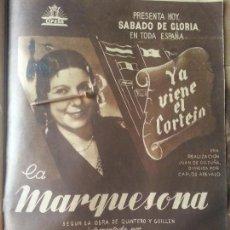 Cine: AÑO 30 / 40 UNICA - GRAN PUBLICIDAD PELICULA PASTORA IMPERIO YA VIENE EL CORTEJO LA MARQUESONA. Lote 58293950