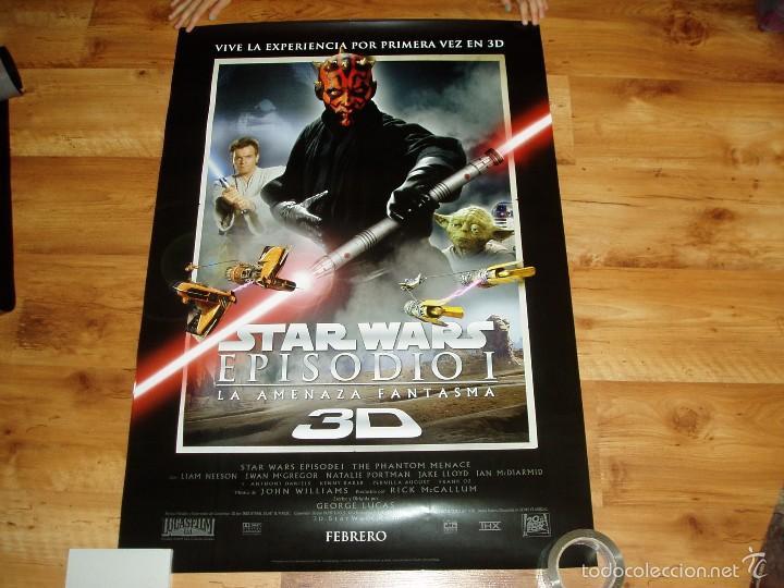 POSTER O CARTEL DE CINE. STAR WARS. EPISODIO 1.LA AMENAZA FANTASMA EN 3D. ORIGINAL. (Cine - Posters y Carteles - Ciencia Ficción)