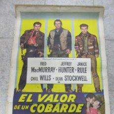 Cine: CARTEL DE CINE ORIGINAL. EL VALOR DE UN COBARDE. CINEMASCOPE. 68 X 112CM. Lote 60249567