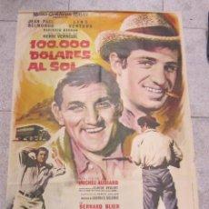 Cine: CARTEL DE CINE ORIGINAL. 100.000 DOLARES AL SOL. JEAN PUAL BELMONDO Y LINO VENTURA. 70 X 100CM. Lote 181453633