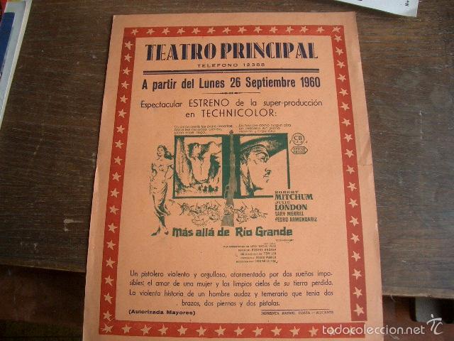 PEQUEÑO CARTEL DE MÁS ALLÁ DE RÍO GRANDE. TEATRO PRINCIPAL DE ALICANTE (Cine - Posters y Carteles - Westerns)