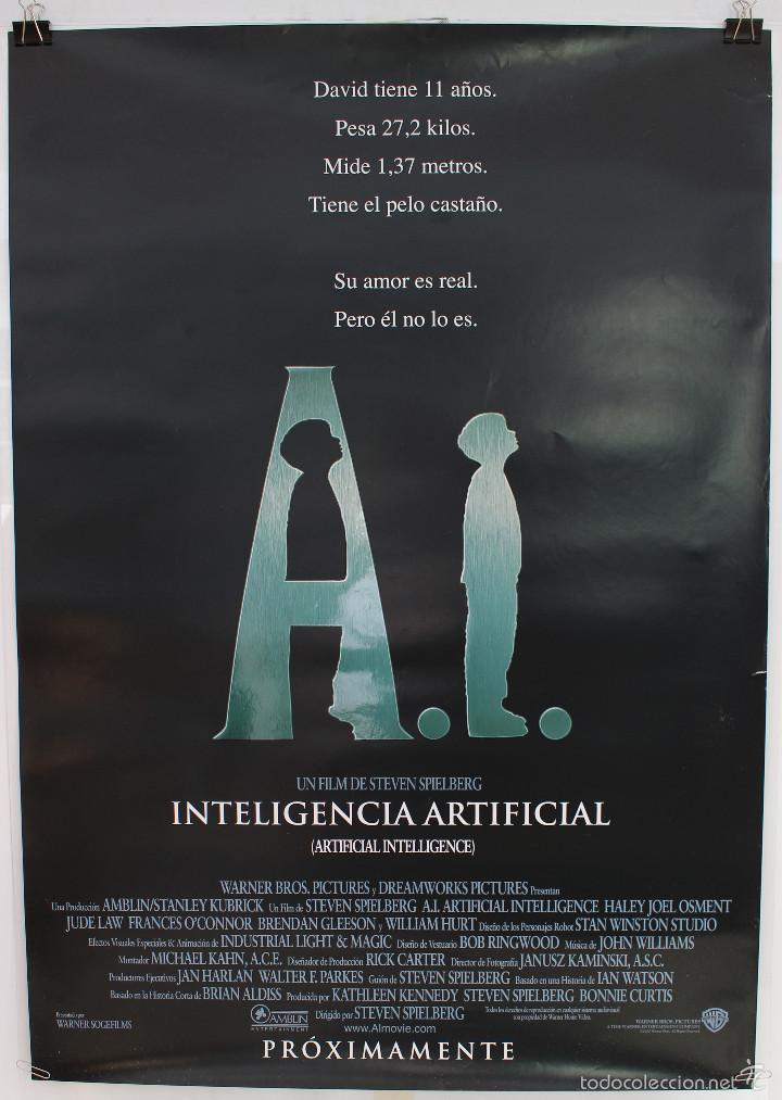 Cine: Cartel Original Cine. A.I. Inteligencia Artificial. Steven Spielberg, Jude Law, Haley Joel Osment. - Foto 1 - 60734603