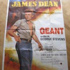 Cine: JAMES DEAN GEANT (GIGANTE) POSTER ANTIGUO FRANCÉS 119X160 CM. Lote 60779619