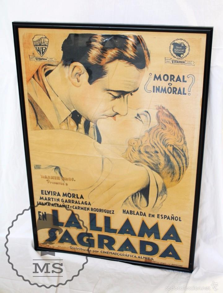 ANTIGUO CARTEL DE PELÍCULA - LA LLAMA SAGRADA - WARNER BROS. / CINEMATOGRÁFICA ALMIRA - AÑO 1931 (Cine- Posters y Carteles - Drama)