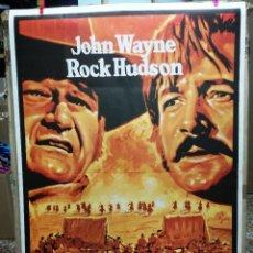 Cine: LOS INDESTRUCTIBLES JOHN WAYNE ROCK HUDSON MAC POSTER ORIGINAL 70X100 ESPAÑOL. Lote 62116372