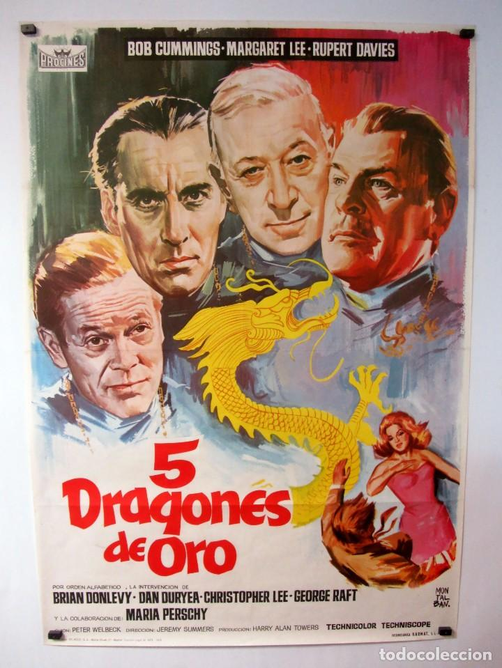 5 DRAGONES DE ORO CARTEL ORIGINAL DE LA PELÍCULA 69 X 99 KLAUS KINSKI, CRISTOPHER LEE, MARGARET LEE (Cine - Posters y Carteles - Acción)