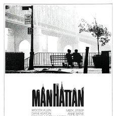 Cine: MANHATTAN. WOODY ALLEN. CARTEL DE LA PELÍCULA. 45 X 32 CMS.. Lote 176068179