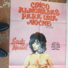 Cine: SARITA SARA MONTIEL CARTEL DE LA PELICULA CINCO ALMOHADAS PARA UNA NOCHE 70 X 105... . Lote 63024452