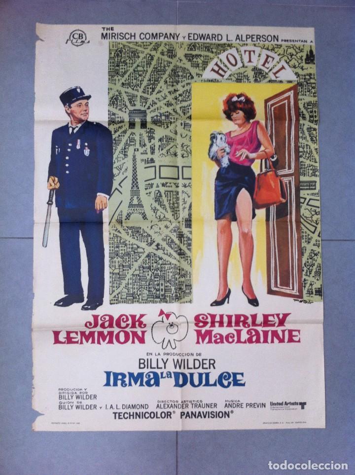 CARTEL DE CINE 70X100 ORIGINAL IRMA LA DULCE CON JACK LEMMON DIR ALEXANDER TRAUNER (Cine - Posters y Carteles - Comedia)