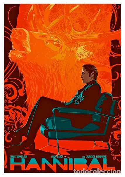 HANNIBAL (SERIE TV 2013). MADS MIKKELSEN. LÁMINA CARTEL DE LA SERIE. 45 X 32 CMS. (Cine - Posters y Carteles - Suspense)