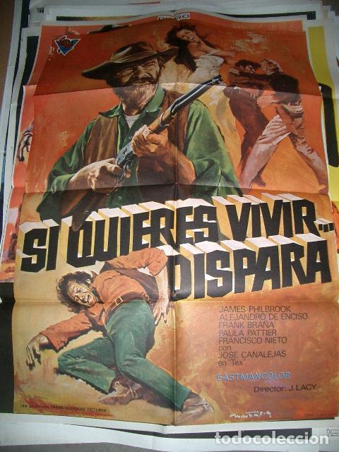 PÓSTER DE CINE ORIGINAL 70X100CM SIQUIERES VIVIR, DISPARA (Cine - Posters y Carteles - Westerns)