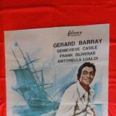 Cine: TORMENTA SOBRE EL PACIFICO, POSTER 70X100CMS., GERARD BARRAY FRANK OLIVERAS, 1967. Lote 64796911