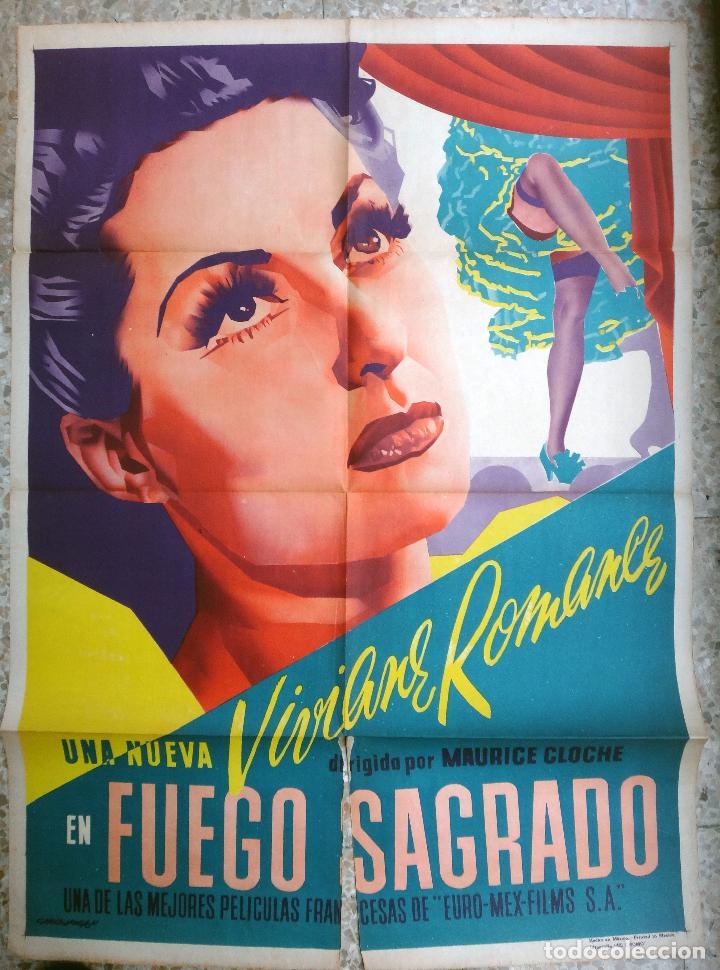 CARTEL CINE , FUEGO SAGRADO , 1947 , CALOS VEGA , ORIGINAL (Cine- Posters y Carteles - Drama)