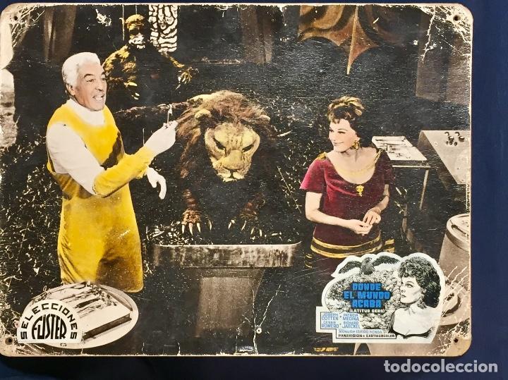 CARTELERA CINE LOBBY CARD DONDE EL MUNDO ACABA LATITUD CERO COTTEN MEDINA ROMERO 29X39CMS (Cine - Posters y Carteles - Ciencia Ficción)