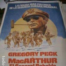 Cine: PÓSTER DE CINE ORIGINAL 70X100CM MCARTHUR EL GENERAL REBELDE CON GREGORY PECK. Lote 68175021