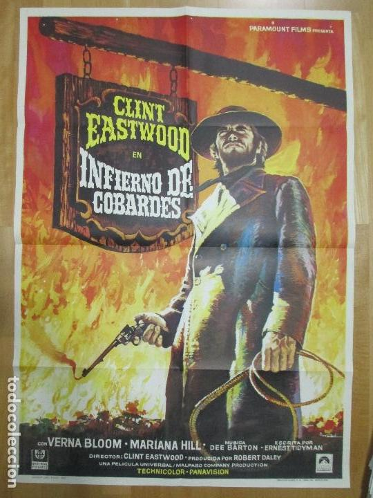 CARTEL CINE, INFIERNO DE COBARDES, CLINT EASTWOOD, 1973, MAD, C891 (Cine - Posters y Carteles - Westerns)