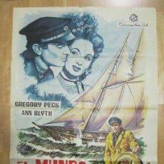 Cine: CARTEL CINE, EL MUNDO EN SUS MANOS, GREGORY PECK, ANN BLYTH, ANTHONY QUINN, 1965, C892. Lote 68505697