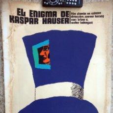 Cine: CARTEL POSTER CINE CUBANO, EL ENIGMA DE KASPAR HAUSER, ALEMANIA , CUBA, SERIGRAFIA ,ORIGINAL ,MMC. Lote 68676693